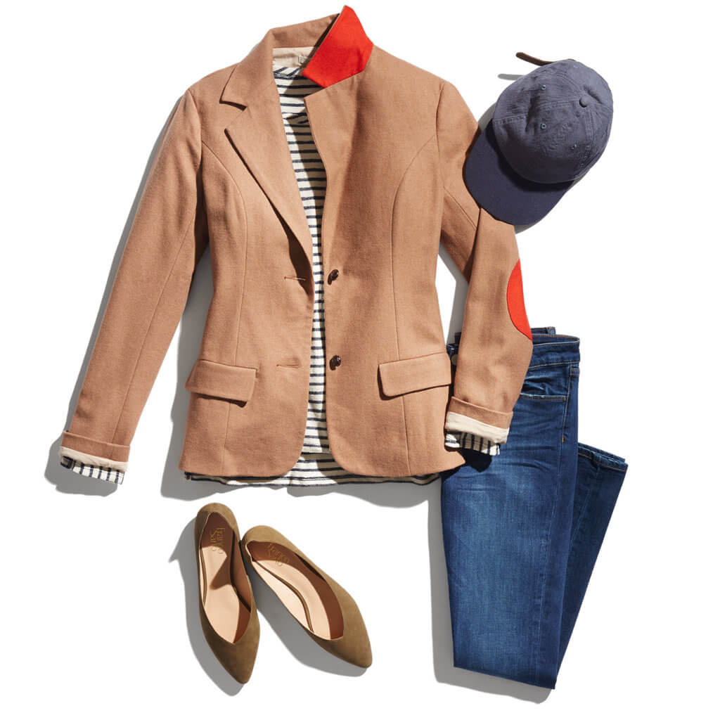 Jacket, jeans, shoes & hat for women